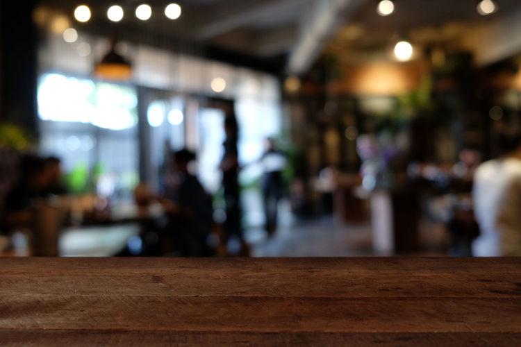 Defocused image of people at restaurant