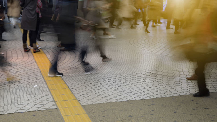 Rush hour in Tokyo metro train station, Japan ASIA Japan Life Metro Quickly Rush Hour Station Traffic Transport URGENT Walk Abstract Blur Blurred Motion City Lifestyles Low Section Metropolis Motion Move Movement People Public Real People Walking