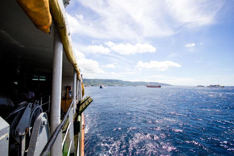 ship. Beautiful sea and sky. travel. Asian Cloud - Sky Day Mountain Scenics - Nature Sea Ship Sky Transportation Travel Water