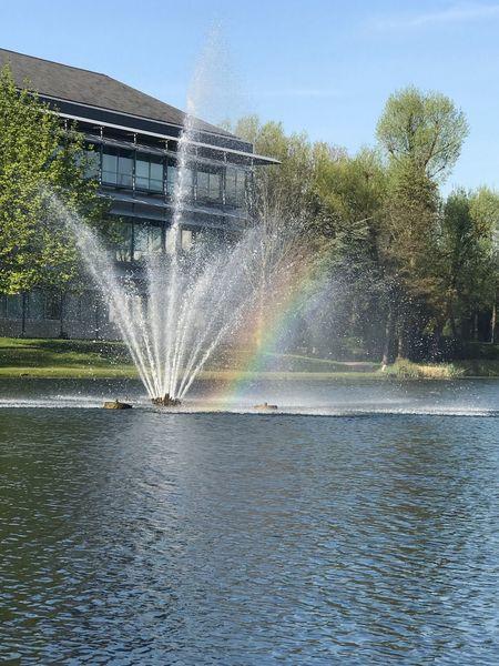 Rainbow in a fountain! Rainbow Fountain Waterfeature Lake Summer