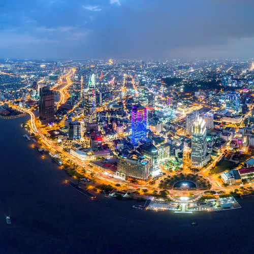 Royalty high quality stock image aerial view of Ho Chi Minh city, Vietnam. Beauty skyscrapers along river light smooth down urban development in Ho Chi Minh City, Vietnam. City Construction Free Nature Skyline Tradition Traffic Transportation Viet Nam Vietnam View Abstract Aerial Backgrounds Bitexco City Destination Ho Chi Minh River Saigon Stock Street Street Thu Thiem Tourism