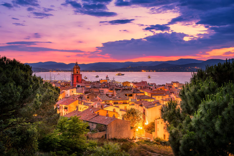 Nightfall over the village of saint-tropez in south of france