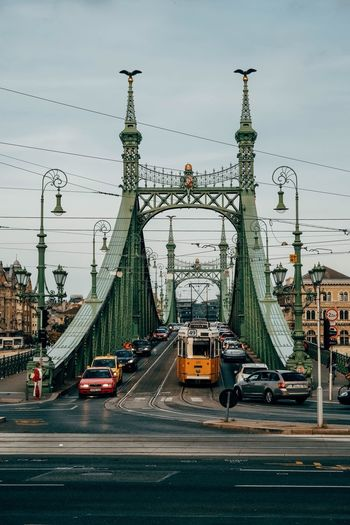 Hungary Budapest Transportation Car Road Land Vehicle Mode Of Transport Built Structure Mobility In Mega Cities Street Architecture Traffic Sky City Outdoors Bridge - Man Made Structure Connection Day Suspension Bridge City Life The Way Forward Street Light Cloud - Sky EyeEmNewHere