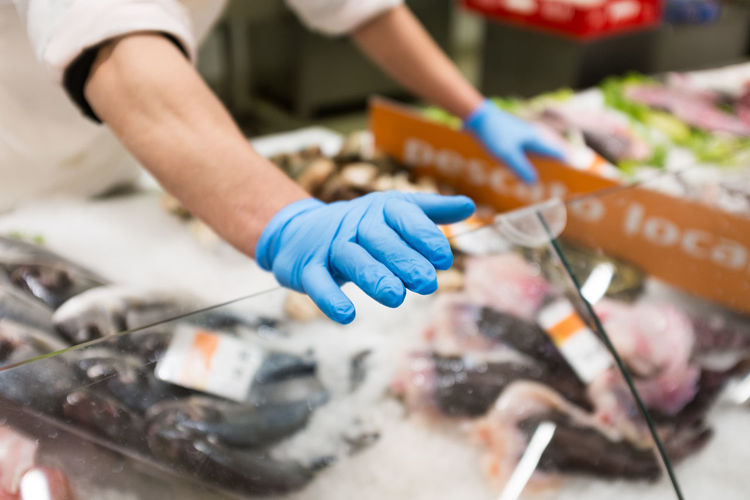 A fish market worker wearing blue gloves Blue Cleaning Close-up Day Fish Fish Market Fishmonger Food Freshness Holding Human Body Part Human Hand Indoors  Industry Men Mussles Occupation Oyster  People Prawn Protective Glove Real People Seafood Tuna Working
