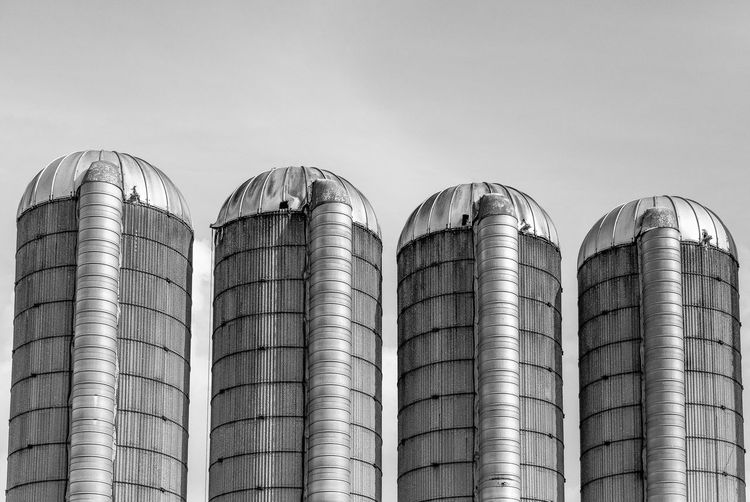 Be Brave Farm Architecture Barrel Building Exterior Built Structure Clear Sky Cylinder Day Factory Farming Food And Drink Food And Drink Industry In A Row Industry Low Angle View Nature No People Outdoors Side By Side Silo Silver Colored Sky Stack Steel