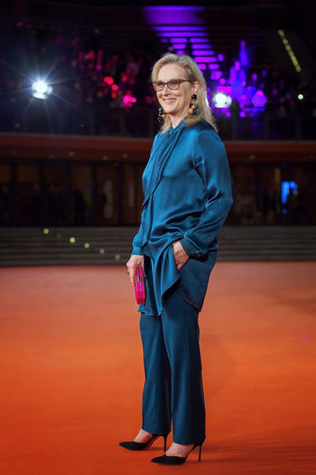 Rome, Italy - October 20, 2016. The American actress Meryl Streep on the red carpet at Rome Film Festival. At the Auditorium Parco della Musica. Celebrities Famous People Meryl Merylstreep One Woman Only Portrait Red Carpet Rome Film Festival Streep Vertical