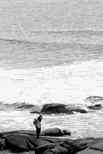 looking for food Water Sea Real People Nature Wave Outdoors Men Beach Day One Person Beauty In Nature Adult People EyeEm Filter Eyeem Collection Monochrome Photography EyeEm Vision Break The Mold The Great Outdoors - 2017 EyeEm Awards Water Sport Horizon Over Water Fishing Fishing Pole Fishing Tackle Ocean Catch Of Fish Fishing Net Fisherman