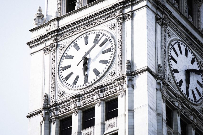 Architecture Building Clock Clock Tower Chicago Chicago Architecture Wrigley Building Blackandwhite No People EyEmNewHere Eyemphotography Eyem Best Shot - Architecture EyEmselect