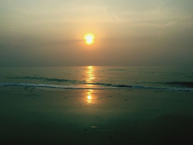Sunset @Huahin Thailand Huahin Thailand Sunset Beautiful Nature At The Beach Calm Sea Reflection The Sun The Sunset