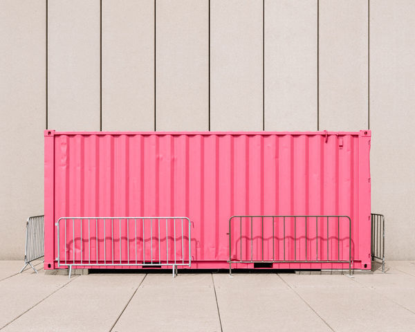 Absence Architecture Building Exterior Built Structure Business Container Day Domestic Room Freight Transportation Garage Industry Large Group Of Objects Metal No People Outdoors Pattern Pink Color Side By Side Stack Transportation Wall - Building Feature