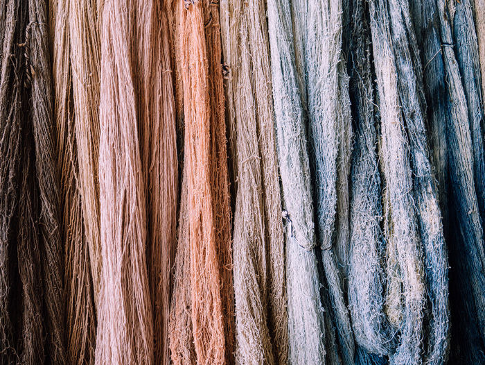 Dyed raw cotton Clothes Color Pastel Pattern Fabric Brown Raw Cotton Material Yarn Textile Close-up Textured  Tone Dye No People Dyed Backgrounds Full Frame Raw Cotton Multi Colored