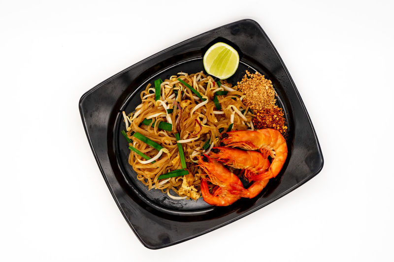 High angle view of noodles in bowl