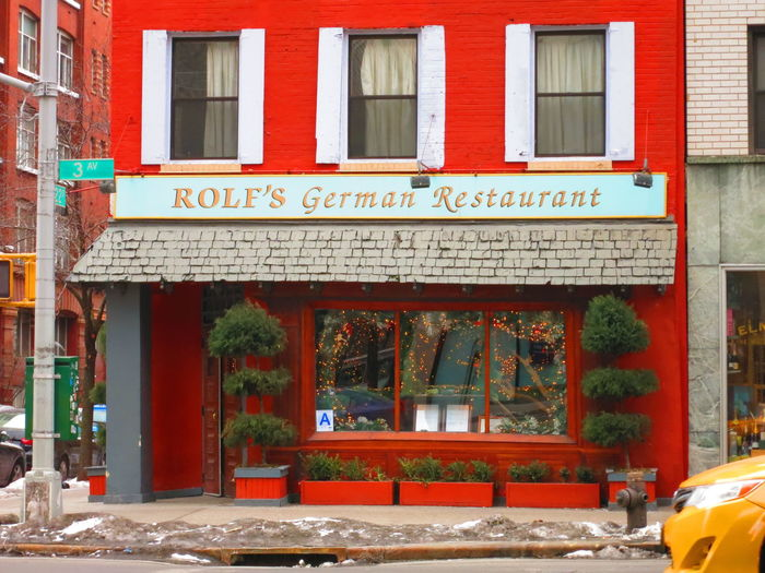 NEW YORK CITY - 2 FEBRUARY 2015: Rolf's German Restaurant on 3rd Avenue in Manhattan. Famous for its over the top Schwarzwald Christmas decorations. Architecture Bar Building Exterior City Day Exterior Exterior Building Faa Famous Place Food And Drink German Restaurant Lifestyle New York City New York, New York NYC Street Nyc Taxi Outdoors Pub Restaurants Rolf Rolf's German Restaurant Taxi Yellow Cab Yellow Taxi