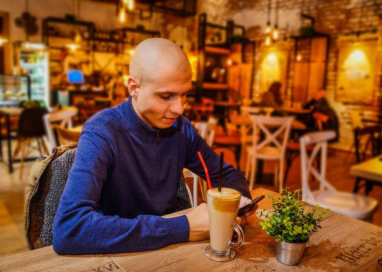 Man sitting at restaurant