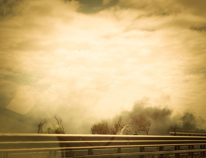 On fire ! On the road for Syracuse...Sicilia is burning Fireman Sicily Road Fire Cloud - Sky Sky Outdoors The Photojournalist - 2018 EyeEm Awards