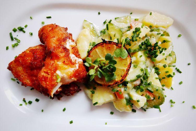 Baked fish and potato salad Fish Baked Fish Backfisch Fisch Food Seafoods Kartoffelsalat Potato Potato Salad Haddock Nobody No People