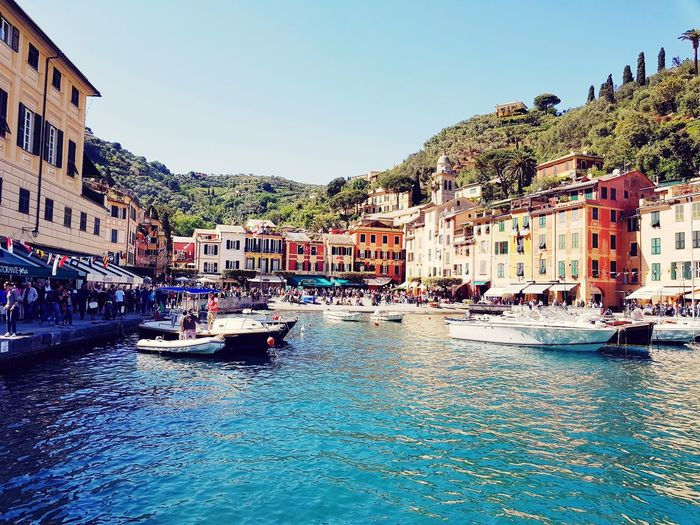 Portofino🔮 Liguria,Italy Sky Sea Vacations Waterfront Beutiful Colors Water Architecture Travel Destinations Building Exterior Outdoors Nautical Vessel Built Structure Day No People Clear Sky City Gondola - Traditional Boat