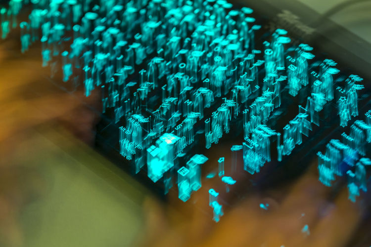 Close-up of illuminated computer keyboard