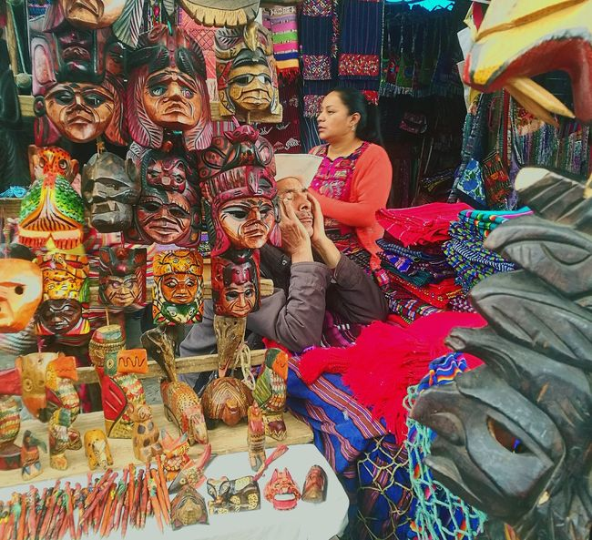 Faces #handicraft #Mask #market Multi Colored Art And Craft Retail  For Sale Textile Retail  Real People