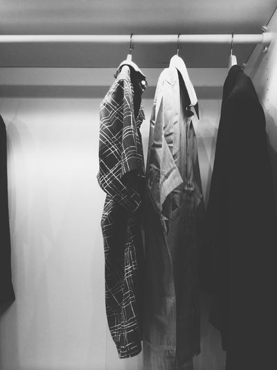 Shirts hanging in closet at home