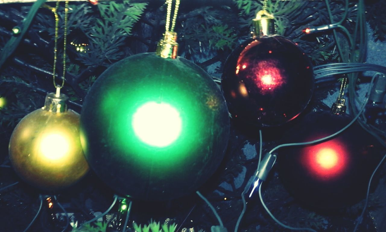 christmas, celebration, christmas ornament, christmas decoration, hanging, green color, bauble, tradition, no people, christmas tree, close-up, illuminated, night, indoors