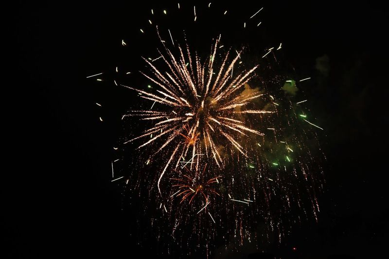 Happy new year Firework Night Celebration Illuminated Firework Display Arts Culture And Entertainment Exploding Event Long Exposure Motion Sky Low Angle View Glowing Firework - Man Made Object Nature Light No People Sparks Blurred Motion Smoke - Physical Structure
