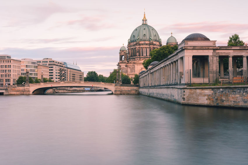 Berlin Cathedral at sunset Berlin Berlin Cathedral Berlin Mitte Berliner Dom Copy Space Spree River Berlin Architecture Bridge Bridge - Man Made Structure Building Building Exterior Built Structure City Connection Dome Government Museum Island Berlin No People Outdoors Religion River Sky Spire  Summer In Berlin Sunset In Berlin Tourism Travel Travel Destination Travel Destinations Water Waterfront