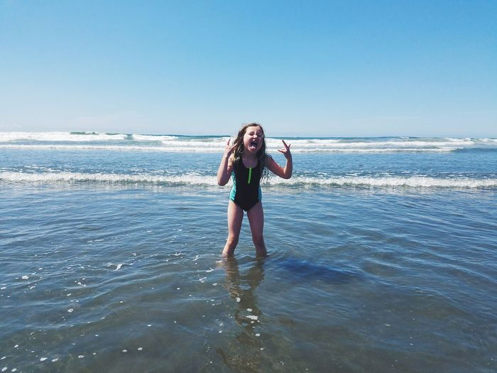 EyeEm Selects Sea Beach One Person Standing Horizon Over Water Sky Nature Vacations Blue Outdoors Summer Girl Childhood Pacific Ocean Coastline PNW