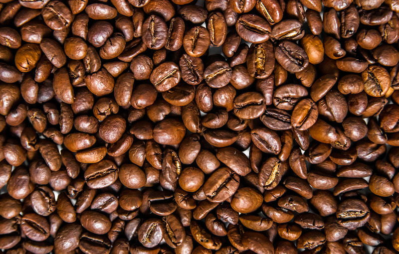 Mix of different types of coffee beans