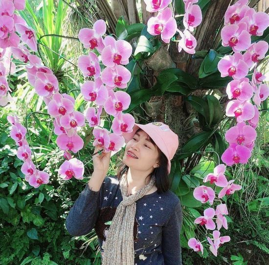 Beautiful young woman standing by pink flowering plants