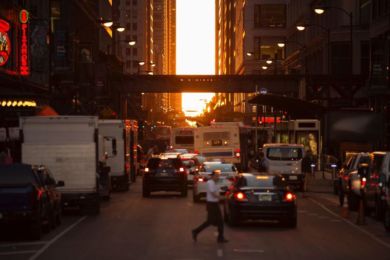 People And Places Chicago Chicagohenge Car Bus CTA Chicago Transit Authority Transit Public Transportation Sunset Golden Hour Golden Sunset Gold Sky Sky Sun Sunlight Chicago Architecture Architecture Sunset_collection