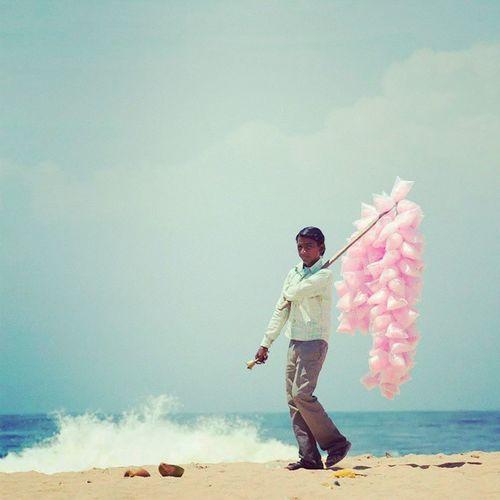 C O T T O N C A N D Y Cottoncandy Nikon Photography D800 travel kerala street streetvendor sandeepsarmaphotography beach waves
