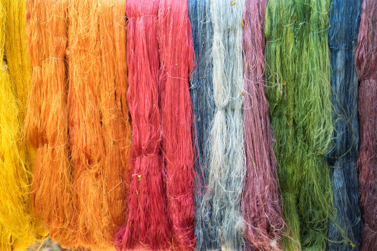 Silk rope Backgrounds Close-up Colorful Full Frame Multi Colored Rope Silk Textile Sony A7r