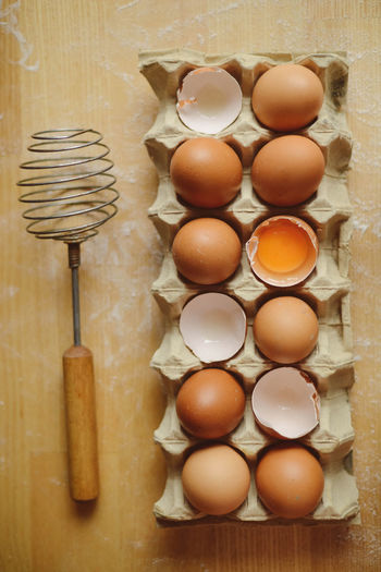 Brown Close-up Directly Above Egg Food Food And Drink Freshness Group Of Objects Healthy Eating High Angle View Indoors  Kitchen Utensil Medium Group Of Objects No People Order Preparation  Raw Food Still Life Table Wellbeing Wood - Material