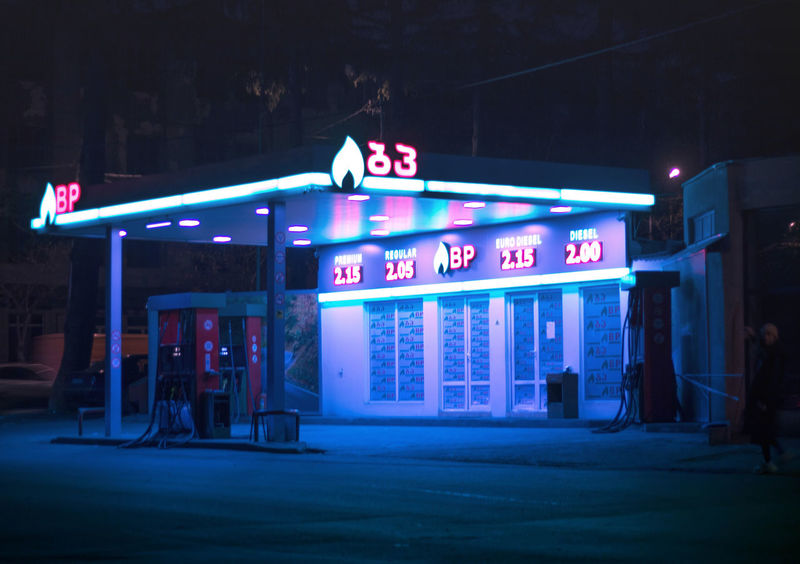 Lights Architecture Building Exterior Built Structure Communication Illuminated Lights In The Dark Neon Night No People Outdoors Petrol Station Store Text Urban
