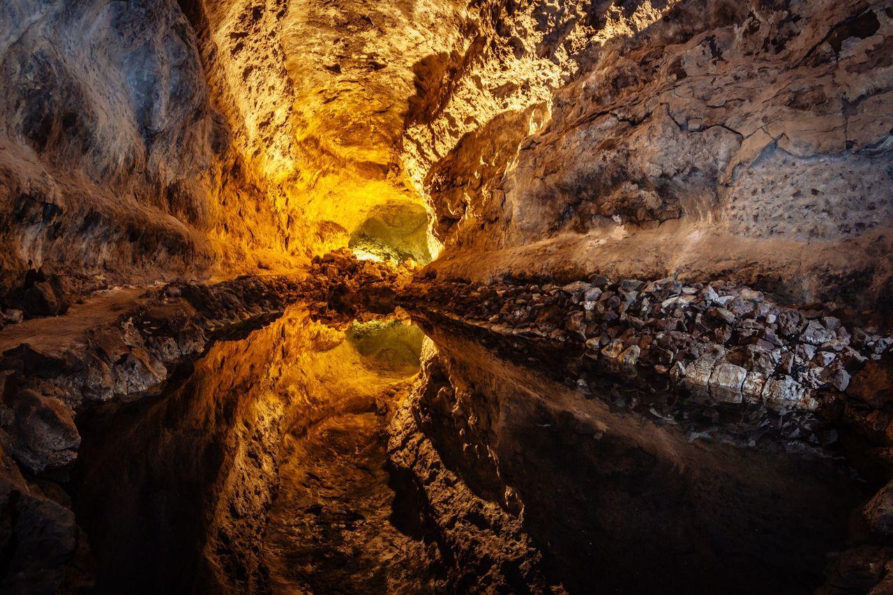 Interior of illuminated cave