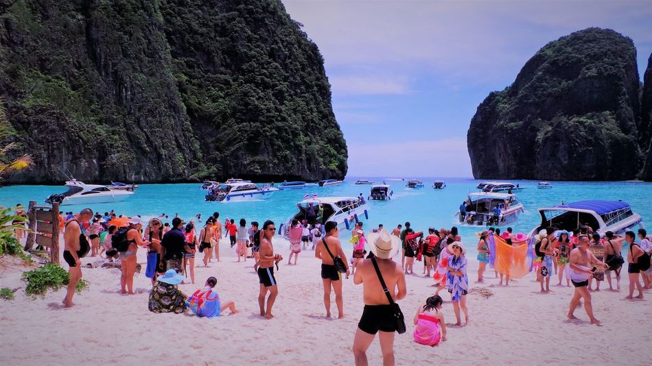 Sea Water Nature Sky Family Tourist Holiday Blue Sky Stone Outdoors Thailand Blue Sea Phuket Krabi Season  Phi Phi Island Sea And Sky Maya Bay Green Sea Scenics Beauty In Nature Southern EyeEm Gallery Welcome To Thailand Phi Phi Island It Been In The Movie Is Beautiful Island In Southern Of Thailand Between Krabi And Phuket