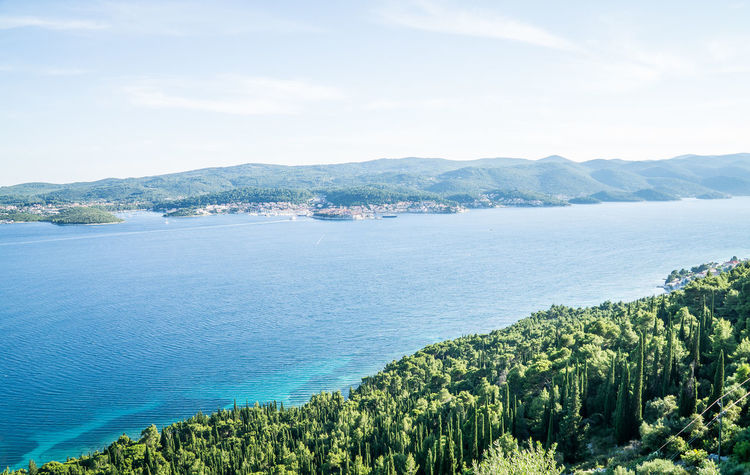 Sea view from Orebic to Korcula Beach Beauty In Nature Blue City Coastline Croatia, Sibenik ❤ Day Korčula Landscape Mountain Nature No People Orebic Outdoors Panorama Scenics Sea Sky Social Issues Travel Destinations Water Yacht Yachting