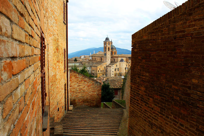Architecture Brick Wall Building Building Exterior Built Structure City Cloud Cloud - Sky Day Diminishing Perspective Exterior Italy Landscape Marche Narrow No People Outdoors Palace Sky The Way Forward TheWeekOnEyeEM Town University Urbino