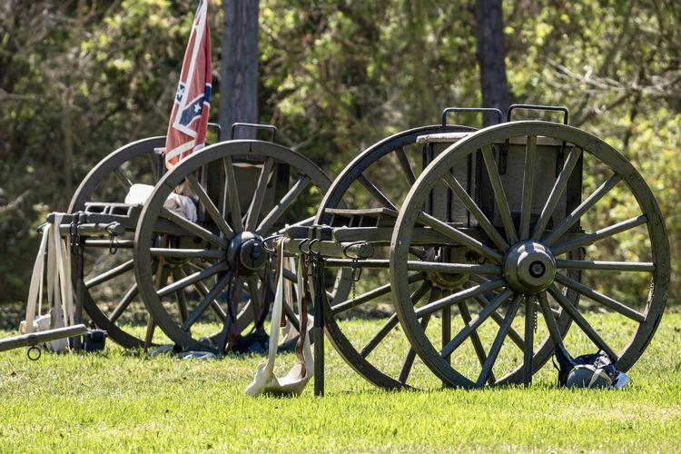 Bicycle wheel on field