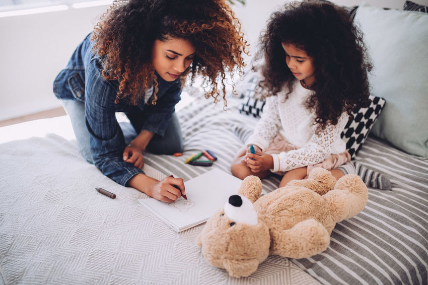 5 Years Old Afro Children Fun Happiness Happy Home Kids Life Mother The Week On EyeEm Afrohair Art Child Childhood Daughter Drawing Girl Kid Little Girl Mom Offspring Painting Teddy Bear