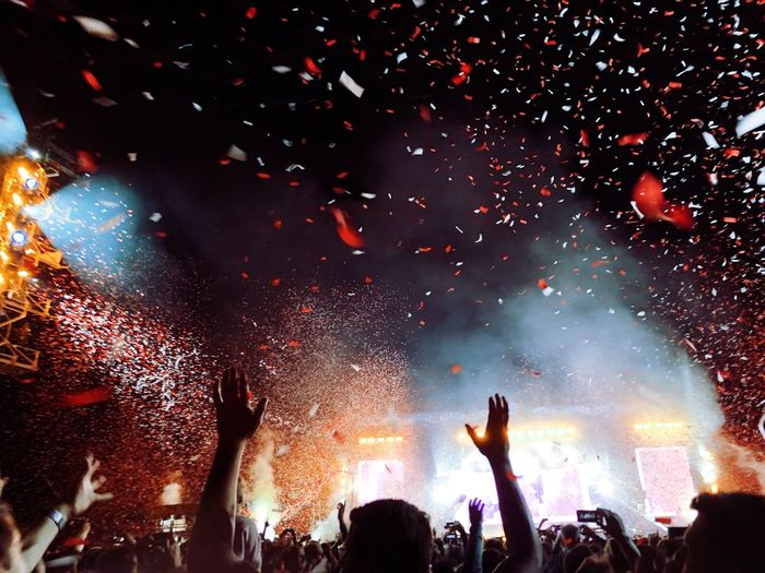 Die Toten Hosen in Mannheim. Night Event Enjoyment Arts Culture And Entertainment Group Of People Crowd Performance Illuminated Real People Large Group Of People Arms Raised Fun Confetti Music Celebration Positive Emotion Nightlife Festival 2018 In One Photograph
