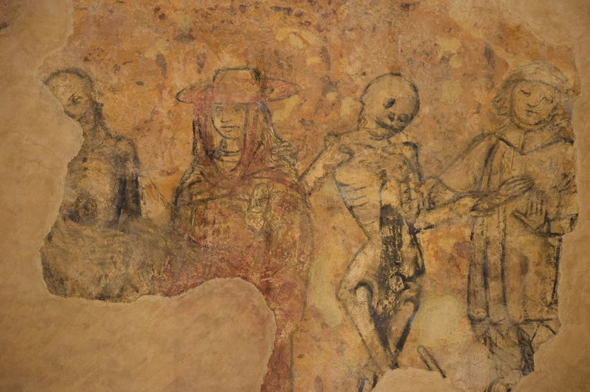 Dance Macabre, ancient art. Ancient Ancient Civilization Archaeology Architecture Art And Craft Carving Carving - Craft Product Close-up Craft Creativity History Human Representation Indoors  Male Likeness Mural No People Old Religion Representation The Past Vertebrate