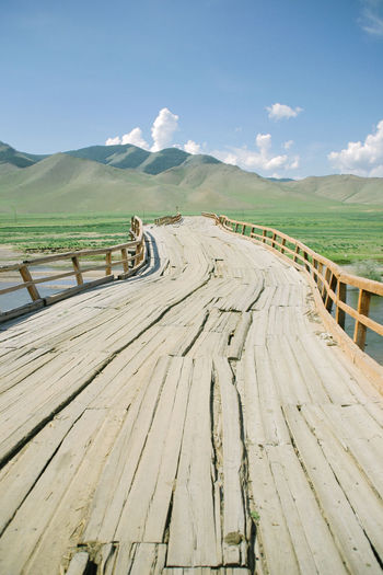 Bridge Mongolia Nomadic Winding Bridge Wooden Bridge
