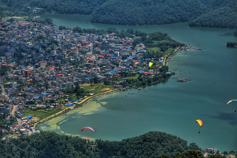 Aerial View High Angle View Water Outdoors Day Lake Nature Sky Pokhara Nepal Pokhara Phewa Lake Pokhara! Phewa Phewa Lake Lakeside Eyeemnepal Birdseyeview Birdseye View Blue Green Town City Houses Colors Colorful Lost In The Landscape