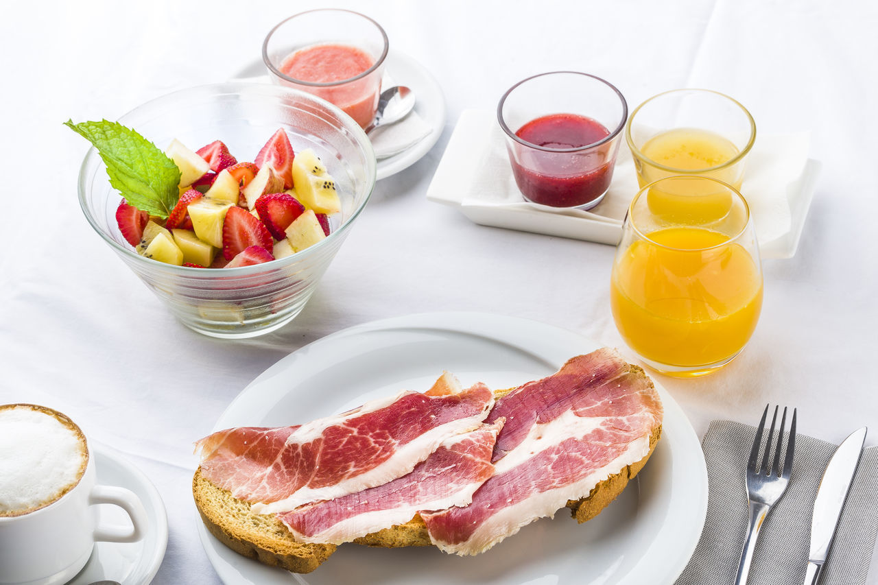 Healthy breakfast served on table