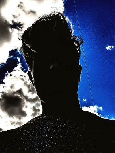 Sky Low Angle View Cloud - Sky Headshot Blue Silhouette One Person Outdoors Real People Day Adult People