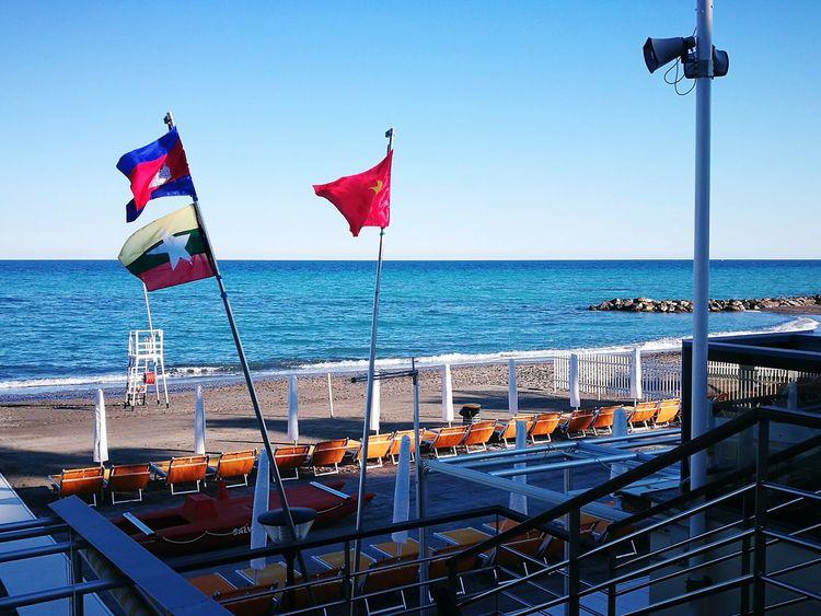 EyeEm Selects Sea Water Sky No People Day Clear Sky Outdoors Mare Spiaggia Bandiera Bandiere Liguria Loano Lettini Lettino Ombrellone Ombrelloni