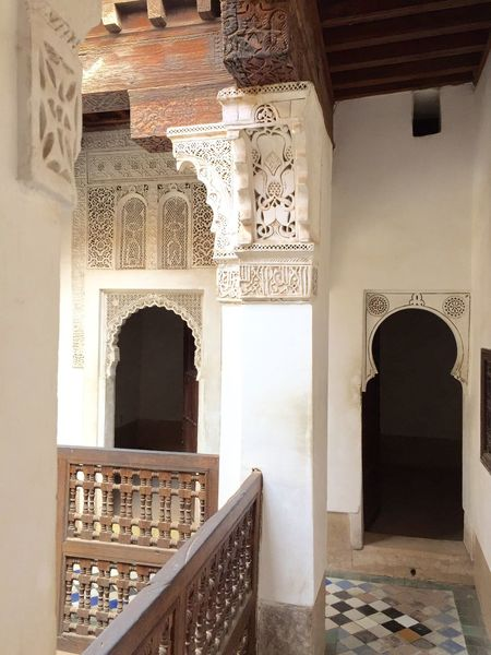 Morocco Marrakesh Africa African Library Balcony Medersa Ben Youssef Architecture Koran School Culture Public Library Theology University Carving Art Place Of Worship Religion Religious  Sultan Symmetry Showcase April