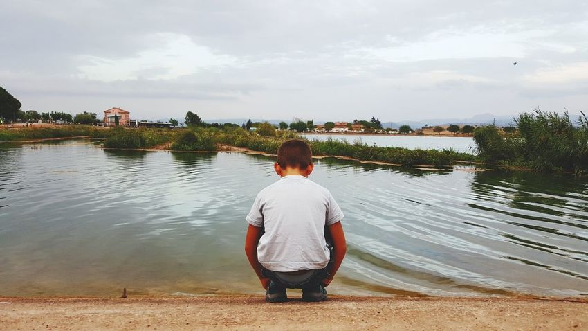 One Person Water Lake Standing Outdoors Nature Sky Waiting ... Manresa Parc De L'Agulla